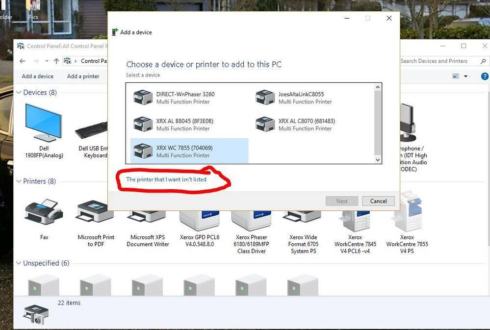 xerox printer offline