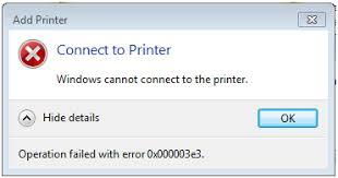 Printer Error 0x00003e3